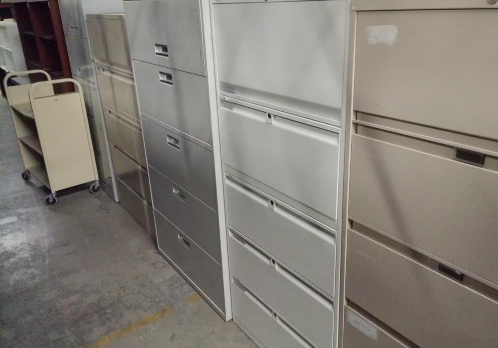Teknion Five Drawer Scratch Proof Lateral Filing Cabinets