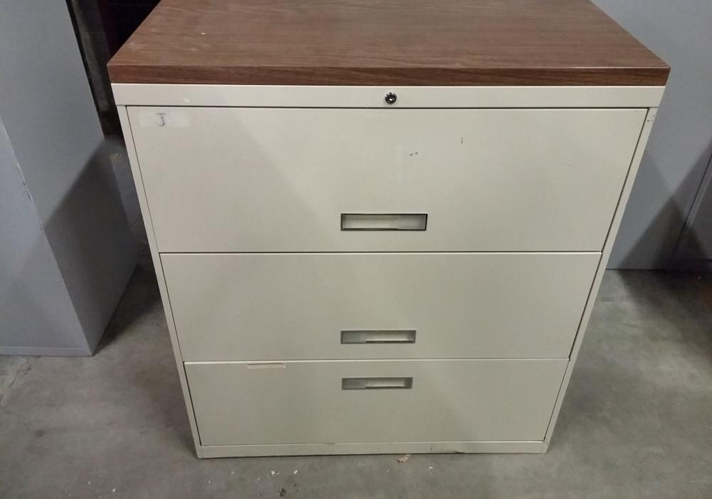 3 drawer lateral filing cabinet with wooden top toronto new used office furniture officestock. Black Bedroom Furniture Sets. Home Design Ideas