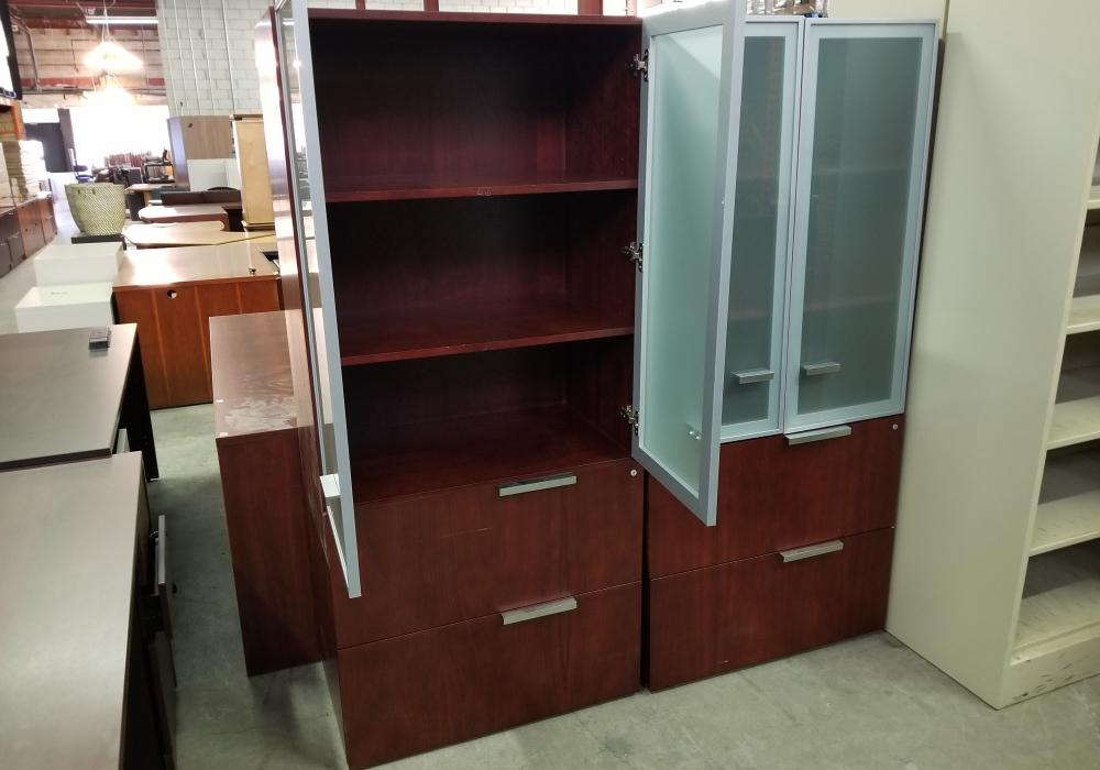 Mahogany Combo Cabinet With Frosted Glass Doors Toronto