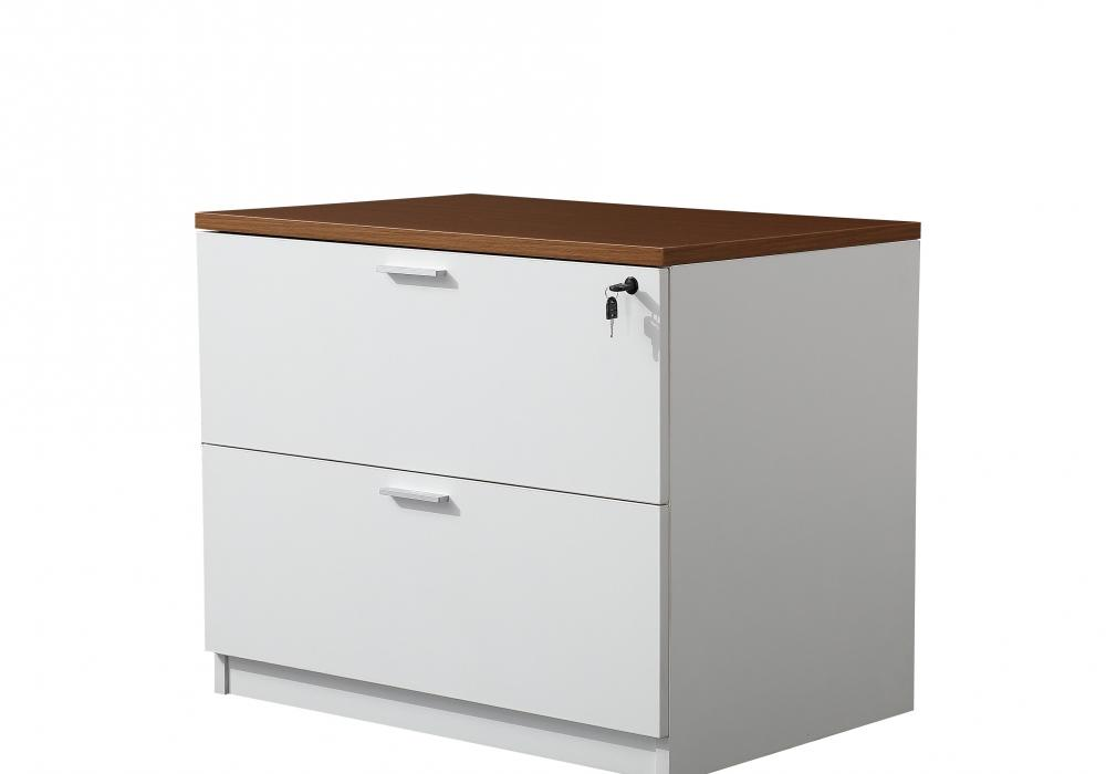 Classic Walnut White 2 Drawer Lateral File Cabinet