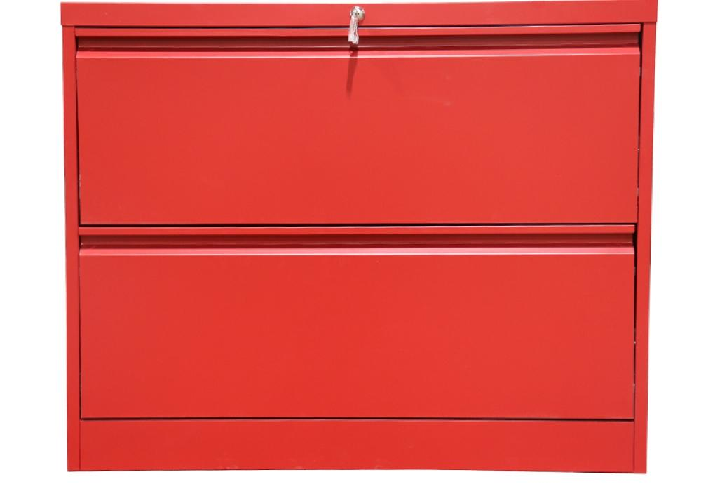 Professional Matt Red 2 Drawer Lateral File Cabinet