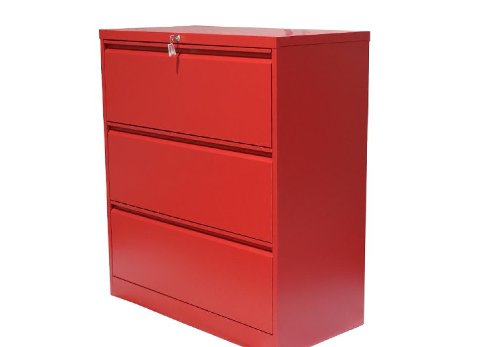 Professional Matt Red 3 Drawer Lateral File Cabinet