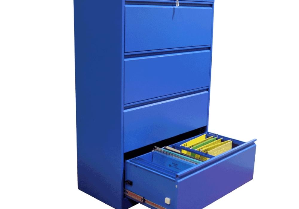 Professional Matt Blue 4 Drawer Lateral File Cabinet